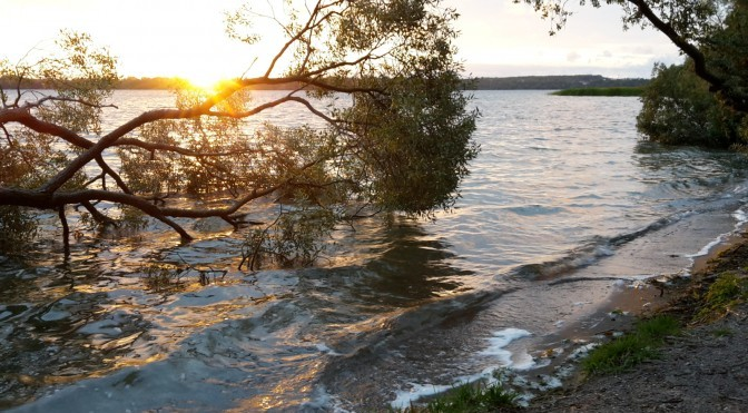 Sonnenuntergang am Strand von Flessenow (Schweriner See)