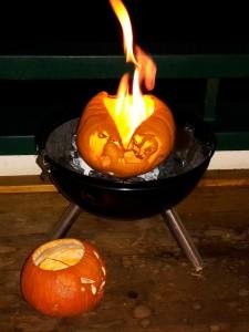 brennender Halloween Kürbis
