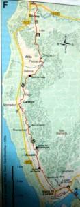 abfotografierte Karte vom Jakobsweg